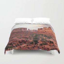 Fire Red Rock Formations in Utah Duvet Cover
