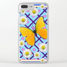 Yellow Butterfly on  Blue-pink Shasta Daisy Abstract Pattern Clear iPhone Case