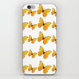 DECORATIVE WHITE  ART OF YELLOW BUTTERFLIES iPhone Skin