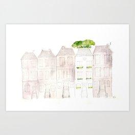 Garden and Row Houses Art Print
