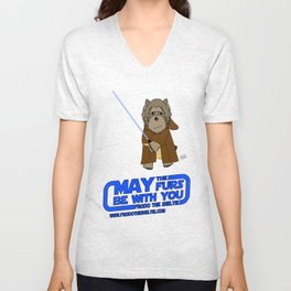 Frod0 the Sheltie: May the Furs Be With You (Luke) Unisex V-Neck