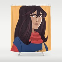 supergirl Shower Curtains featuring Kamala by Fleur Sciortino