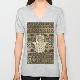 Faux Print Gold Hamsa Hand and Tribal Aztec Unisex V-Neck