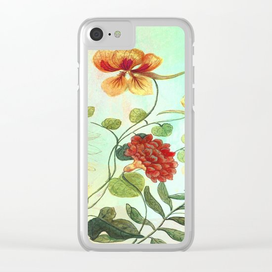 Simply Divine, Vintage Botanical Illustration Pastels Watercolors Flowers Dragonfly Clear iPhone Case