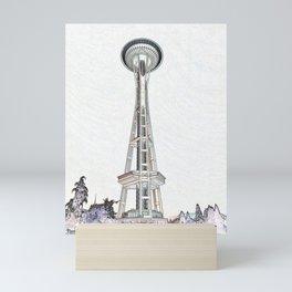 Space needle edges (light) Mini Art Print