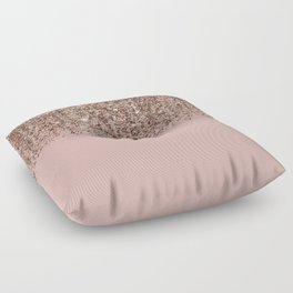 Blush Pink Rose Gold Bronze Cascading Glitter Floor Pillow