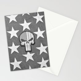 Skull and Freedom Black and White  Stationery Cards