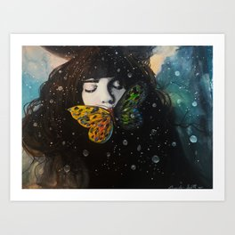 The Crow And The butterfly Art Print
