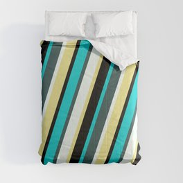 Vibrant Dark Turquoise, Dark Slate Gray, Mint Cream, Tan, and Black Colored Striped Pattern Comforters
