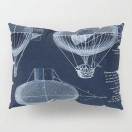Antique Blueprint French Balloon Airship, Steampunk Pillow Sham