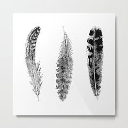 Feather Trio | Black and White Metal Print