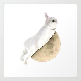 Moon rabbit -Half Moon- Art Print