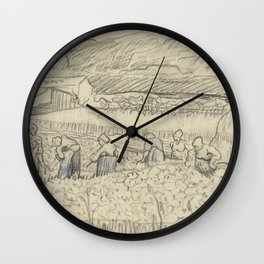 Landscape with Peasant Women Harvesting Wall Clock