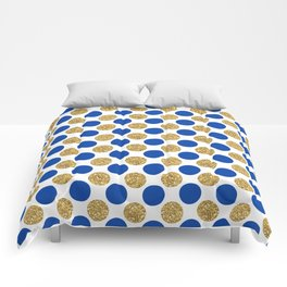 Pastel pink navy blue faux gold glitter polka dots Comforters