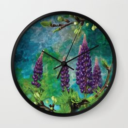 For The Love Of Lupines by annmariescreations Wall Clock