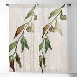 Olive Twig I Blackout Curtain