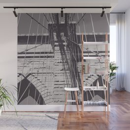 Brooklyn bridge details,  black & white architecture photography, new york city, NY,  city landscape Wall Mural
