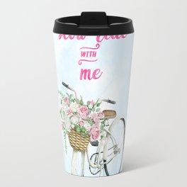 Take a Slow Ride With Me White Bicycle Flower Basket Travel Mug