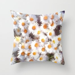 Spring Daisy Wildflower Watercolor Throw Pillow