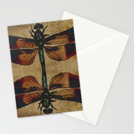 Dragonfly Mirrored on Leather Stationery Cards