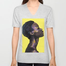 Portrait of Black Woman in yellow background Unisex V-Neck