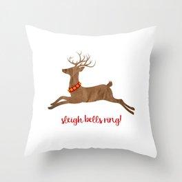 Sleigh Bells Ring Reindeer Throw Pillow