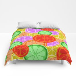 Citrus Explosion - A Pattern of Many Fruits from the Citrus Family Comforters