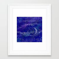 night sky Framed Art Prints featuring Night Sky by Forever Art & Fashion_Leslie Troisi