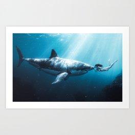 Shark Kiss (Wide) Art Print