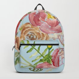 Bouquet of Watercolor on Blue Background Backpack