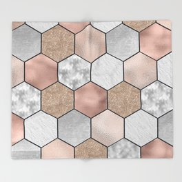Marble hexagons and rose gold on black Throw Blanket