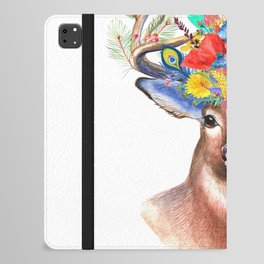 Watercolor Fairytale Stag With Crown Of Flowers iPad Folio Case