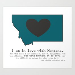 """""""I am in love with Montana"""" - teal Art Print"""