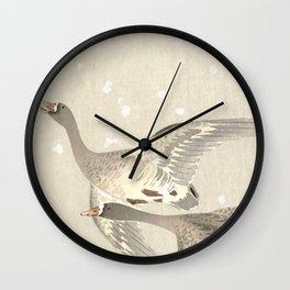 Flying Geese in Snow - Vintage Japanese Woodblock Print Art Wall Clock