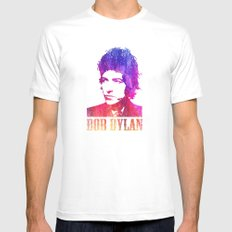 Bob Dylan Print MEDIUM Mens Fitted Tee White