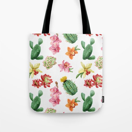 Watercolor Cacti Pattern Tote Bag