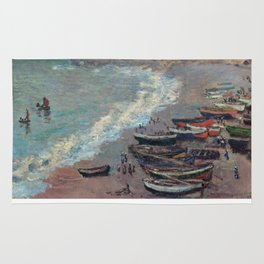 Boats on the Beach at Etretat by Claude Monet Rug