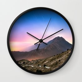 Fantasy mountainscape at night with starry sky in Hong Kong Wall Clock