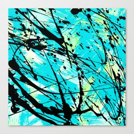 Abstract teal lime green brushstrokes black paint splatters Canvas Print