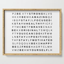 Be Yourself Word Puzzle by Silvana Arias Serving Tray