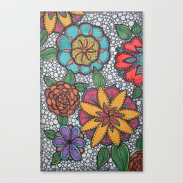 Colorful Patterned Blooms Canvas Print