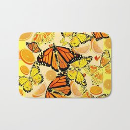 YELLOW MONARCH BUTTERFLY  & ORANGES MARMALADE Bath Mat