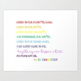 Listen to the Mustn'ts by Shel Silverstein - Child's Room/Nursery Art Print