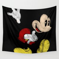 mickey Wall Tapestries featuring DISNEY MICKEY MOUSE: DARK MICKEY by DrakenStuff+
