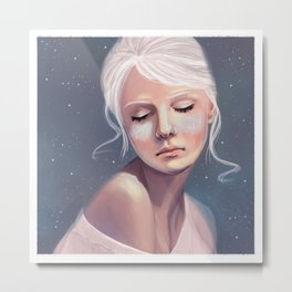 Her Cheeks Glowed with the Constellations of Lovers Metal Print