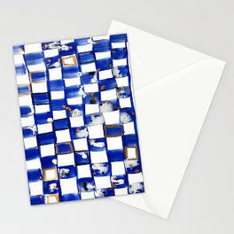Blue and White Checks Stationery Cards