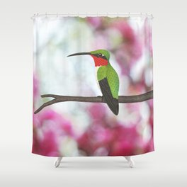 ruby throated hummingbird - male on pink bokeh Shower Curtain