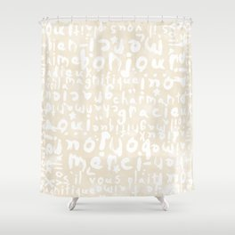 Oui Oui Mon Cheri French Typography Duvet Cover Shower Curtain