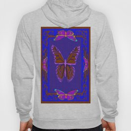Purple Chocolate Lavender Blue Butterfly Night Abstract Hoody