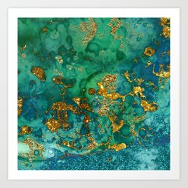 Malachite and Gold Glitter Stone Ink Abstract Gem Glamour Marble Art Print